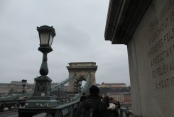 "The bridge in these photos is Budapest's famous ""chain bridge""..."